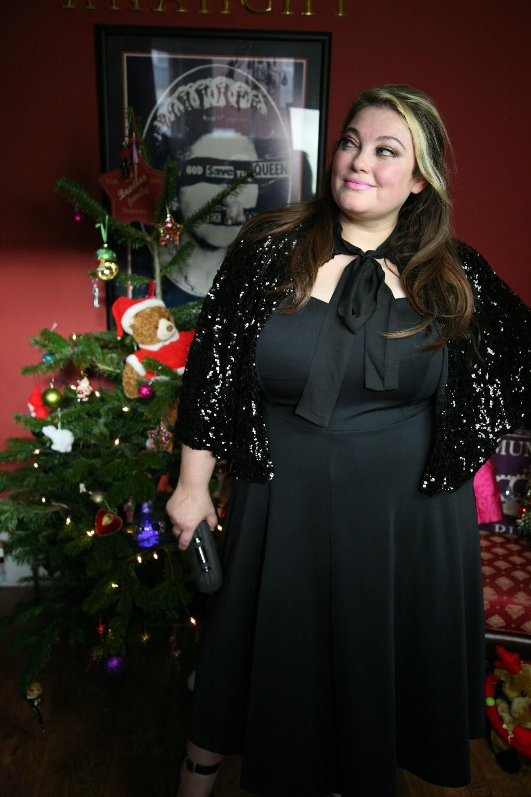 Jameela Jamil Black Strapless skuba dress-Plus size Christmas ...