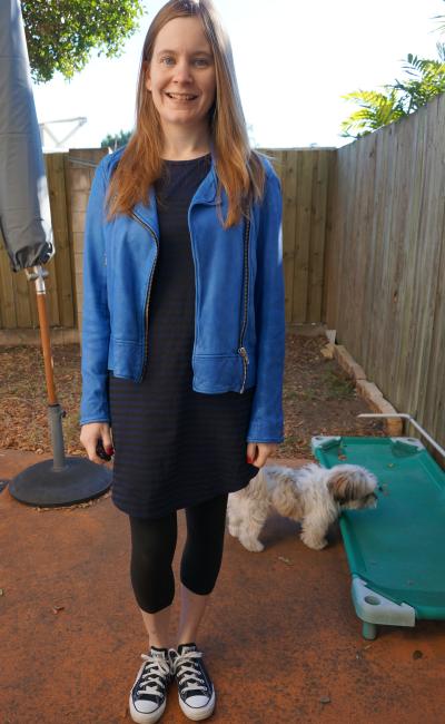 cobalt blue leather jacket striped tee dress leggings