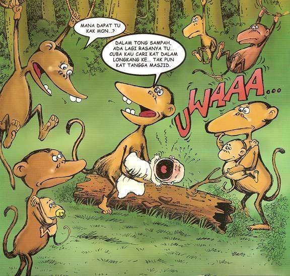 kartun komik buang anak monyet jumpa dalam tong sampah