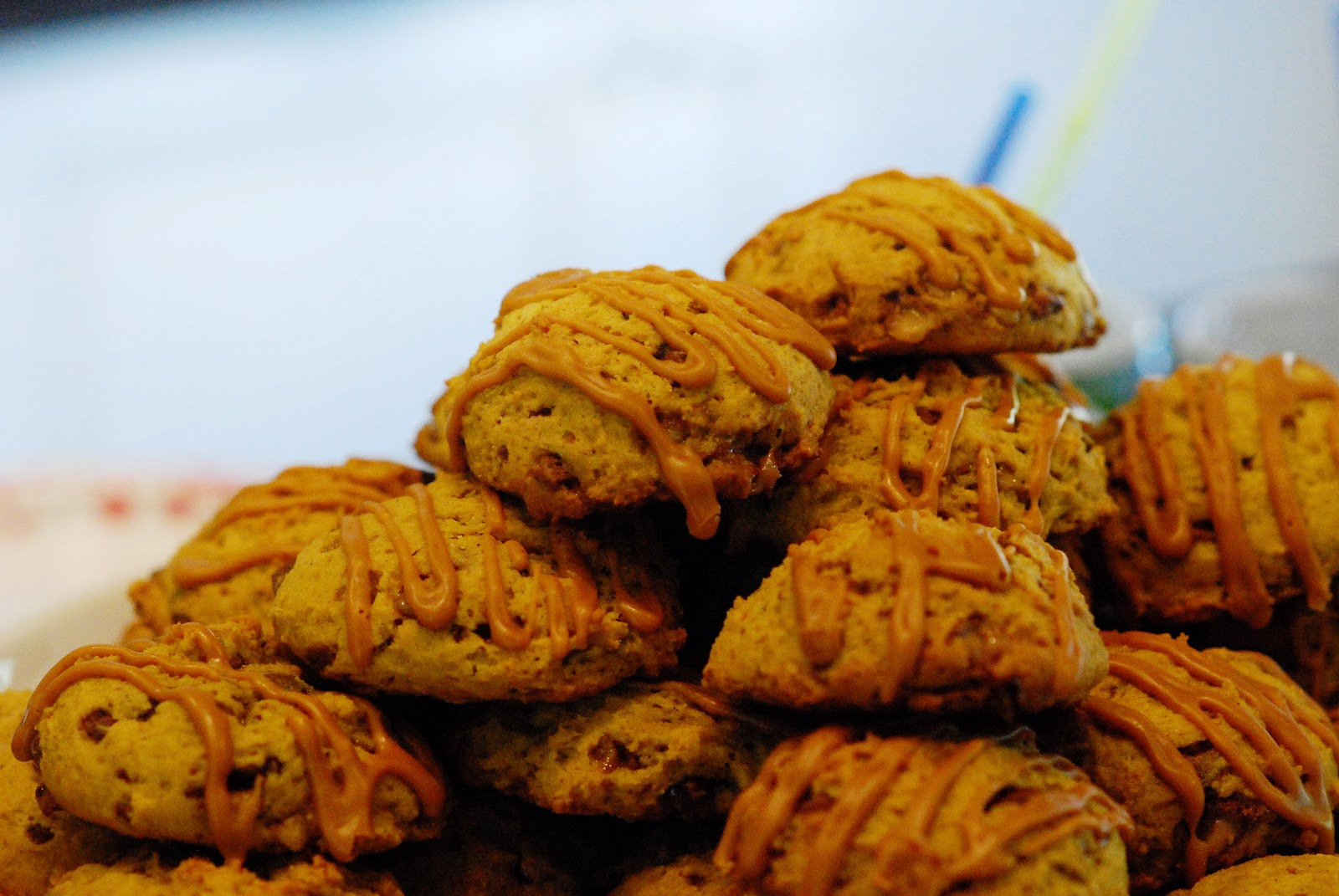 The Sweet Swiper: Pumpkin Toffee Cookies with Salted Caramel Glaze