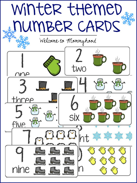 FREE winter themed number cards by Welcome to Mommyhood #preschoolactivities, #printables, #montessori, #preschool, #homeschool