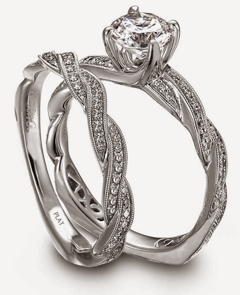 Platinum Diamond Wedding Bands Sets Wave Shaped CZ