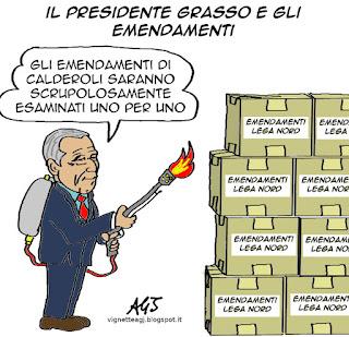 Grasso, calderoli, senato, emendamenti, riforme, vignetta satira
