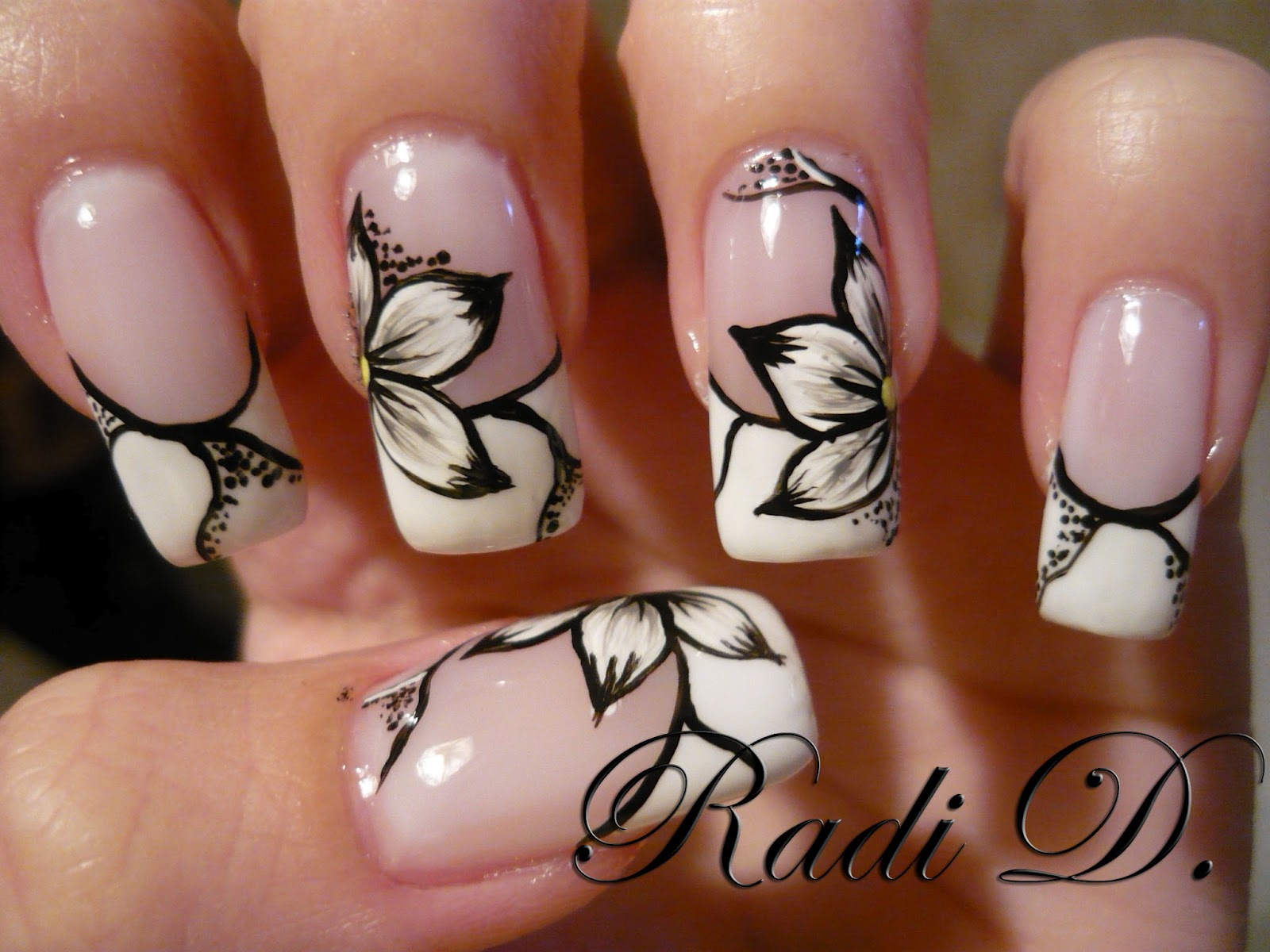 Flowers Another Favourite Design For You Is This One Classic French Manicure