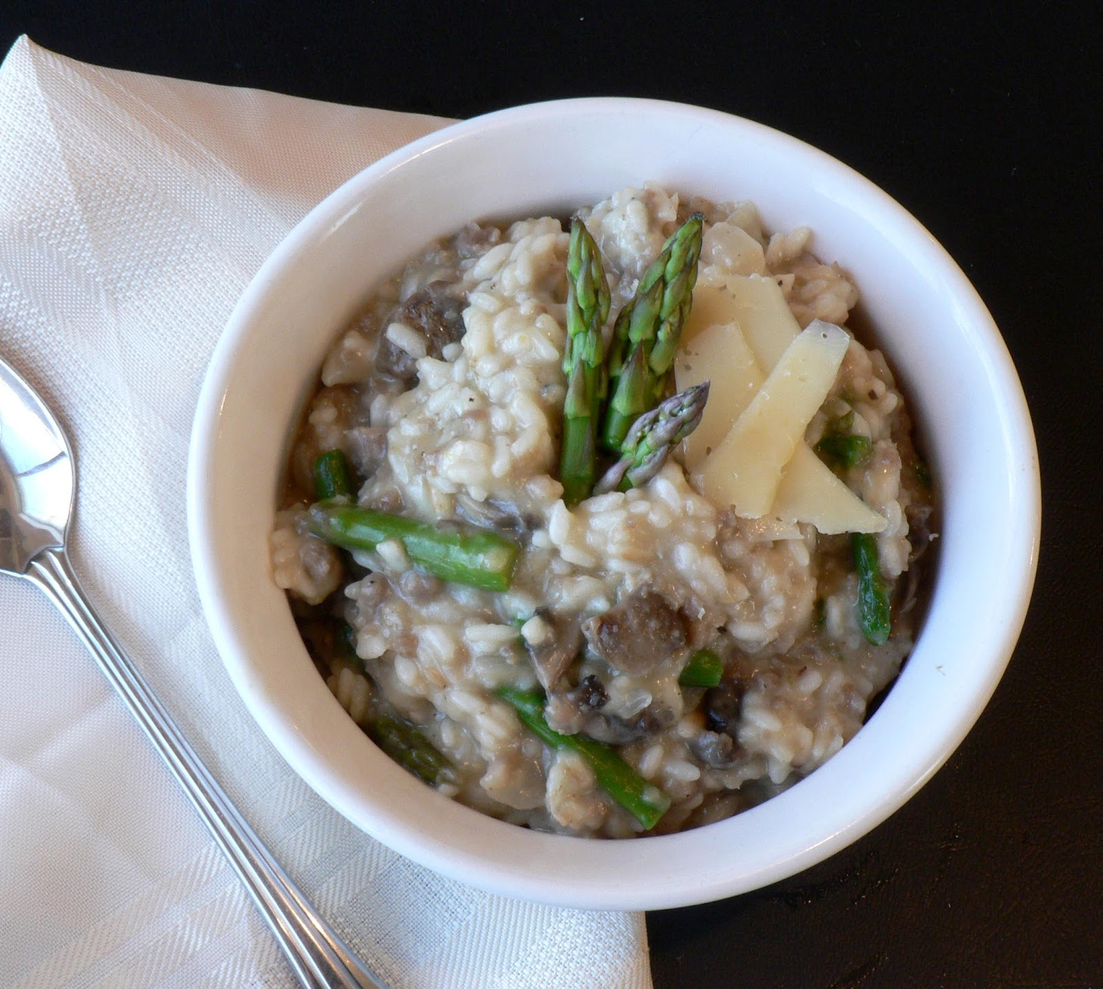 Sausage Asparagus and Mushroom Risotto - Bless This Mess