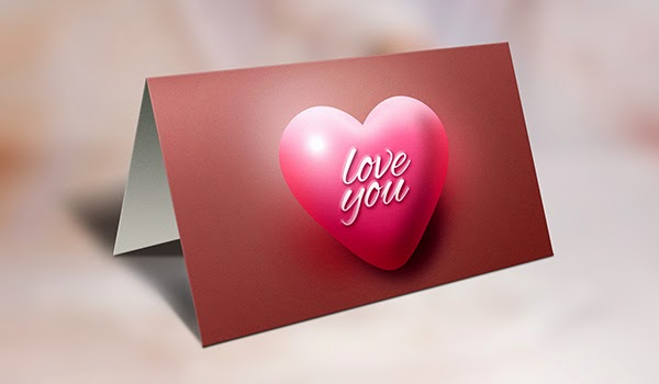 Valentine's Day Greeting Card And Mockup PSD
