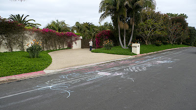 Chalk messages left for Neal Blue.
