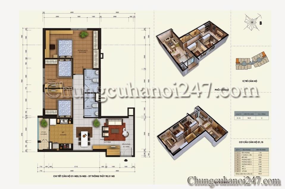 Thiết kế căn 01-15 tòa N03 chung cư 87 Lĩnh Nam