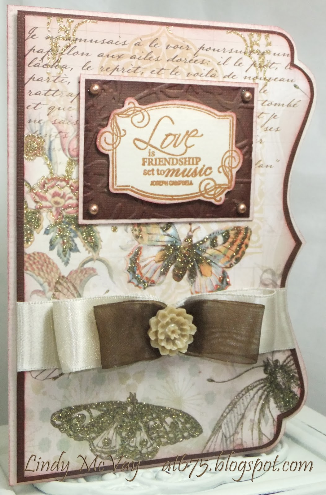 DCWV Mariposa, Silhouette SD, Simon Says Stamp Wednesday Challenge, cards, cards - anniversary, cards - wedding, Tim Holtz Distress Ink, Making Memories, Cuttlebug embossing folder, Offray ribbon, Bazzill Card    Stock, Tattered Angels Glimmer Mist, Fiskars stamp,