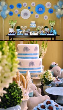 Decoração Elefantinho Azul e Branco