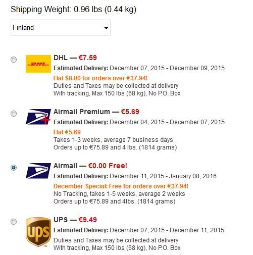 iHerb tarjoaa ilmaisen Airmail postitoimituksen yli 40 dollarin tilauksiin vain tämän Joulun aikana.