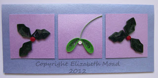 quilled holly and mistletoe Elizabeth Moad