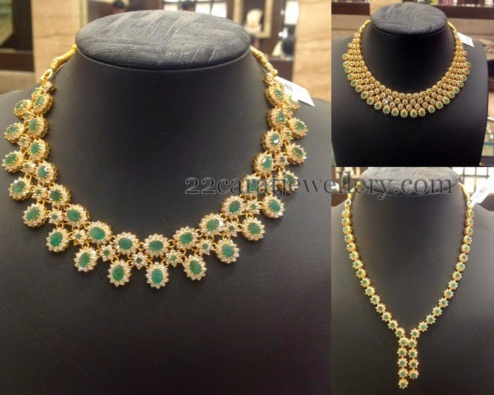 Emerald Cz Necklaces Gallery Jewellery Designs