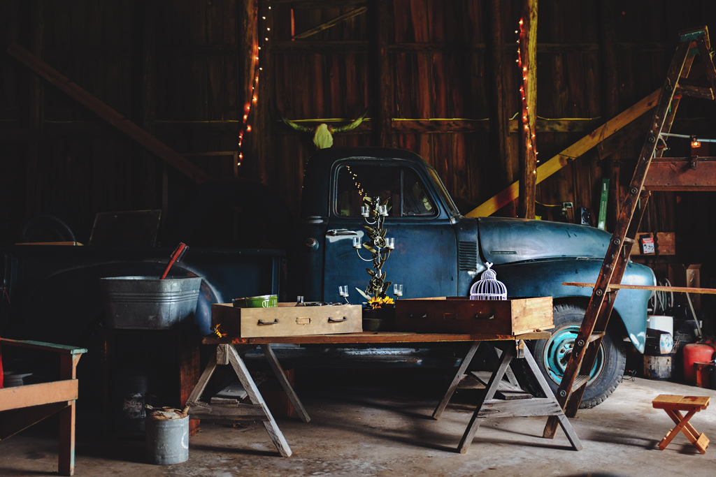 Decor in the barn - Wisconsin Farm Wedding