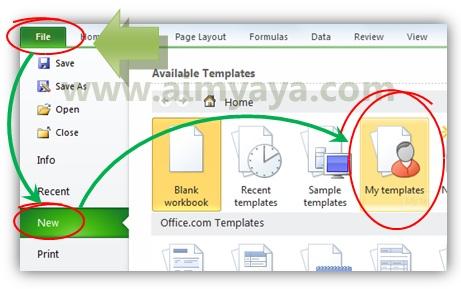 Gambar: Cara menggunakan template buatan sendiri di microsoft excel