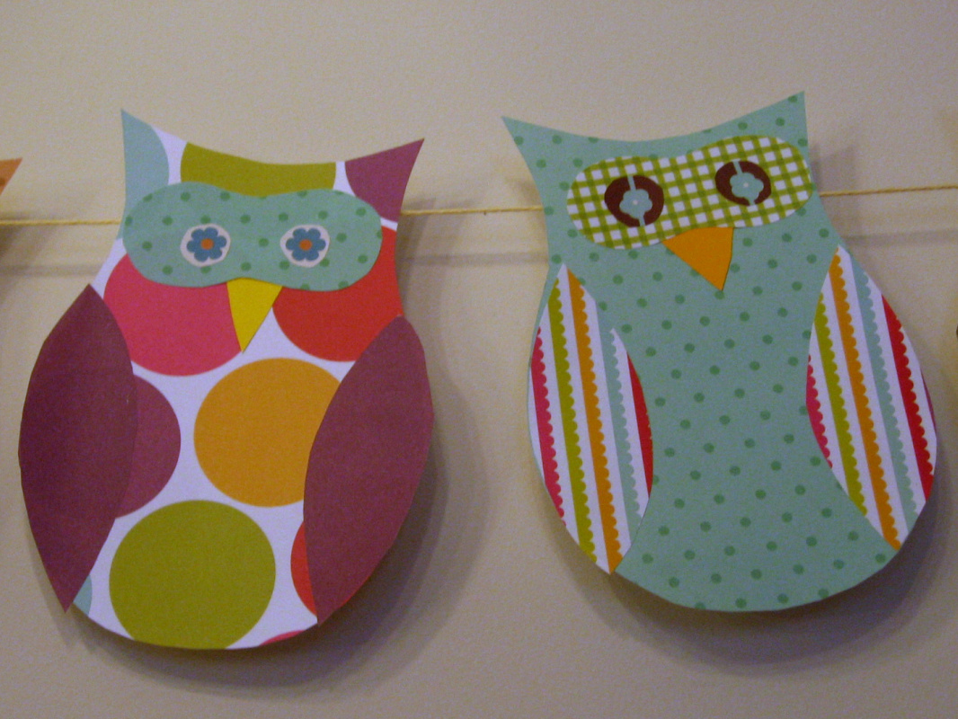 Needle and spatula owl themed baby shower decorations for Baby owl decoration