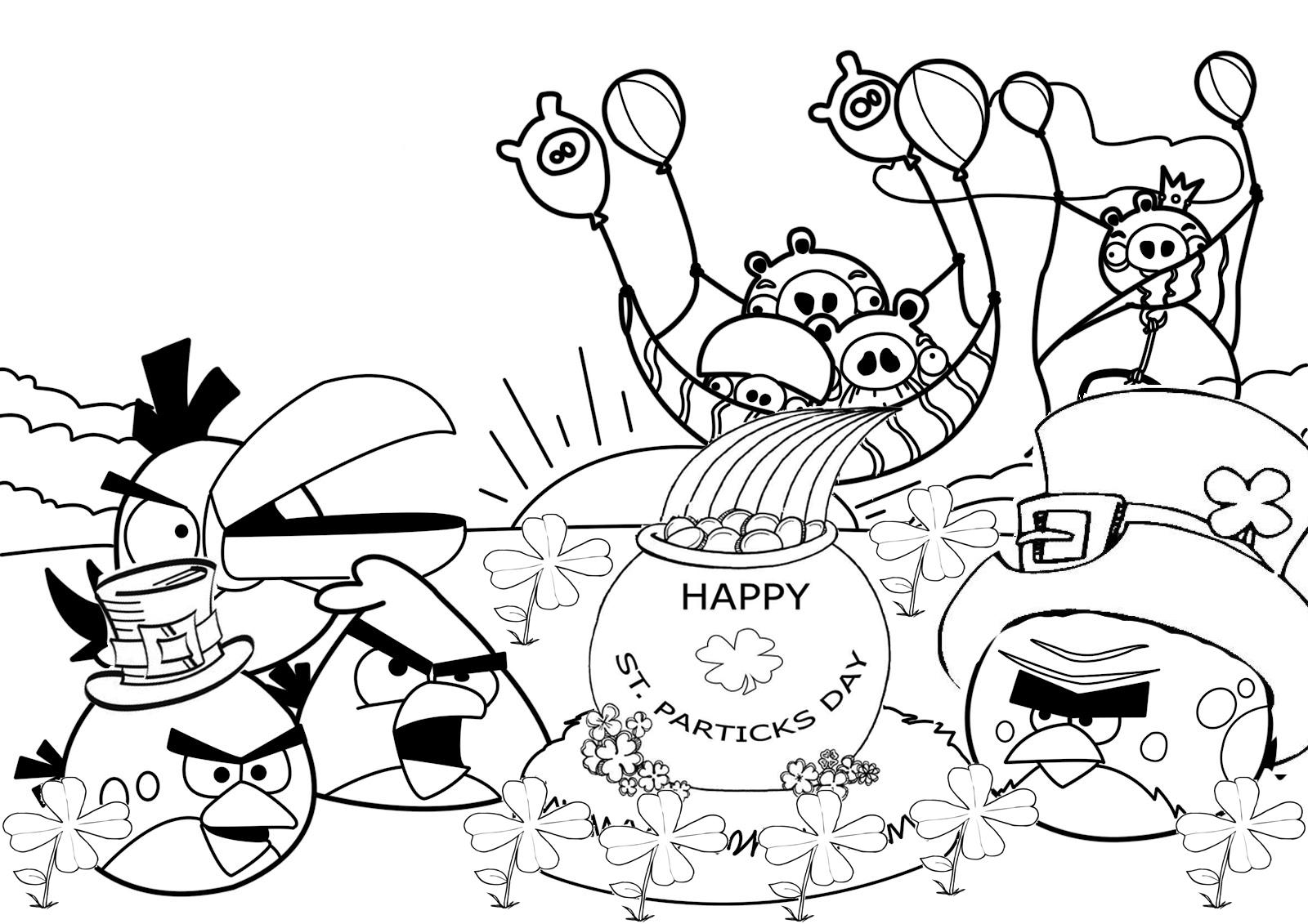 Día de San Patricio Angry Birds para colorear