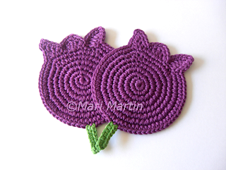 Crochet Coasters Purple Tulips