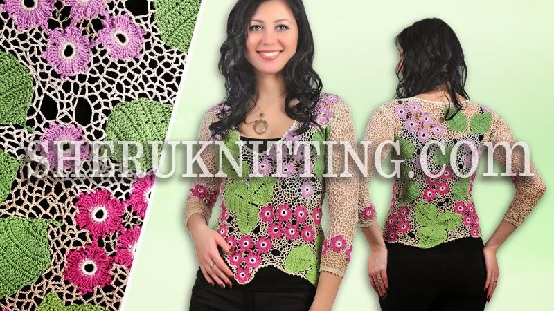 Sheruknitting Floral Irish Crochet Lace Blouse Model 26