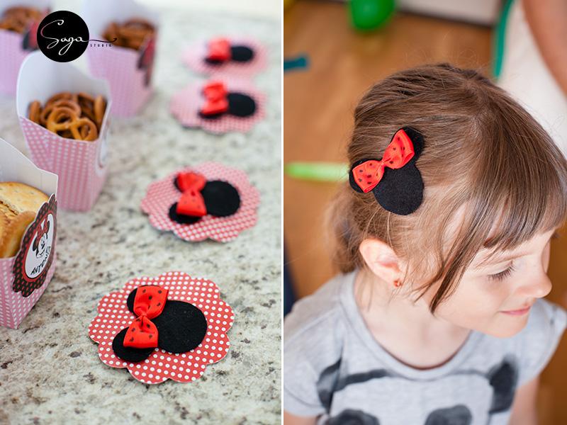 agrafe de par fetru Minnie, Minnie Mouse, pachet petrecere Minnie