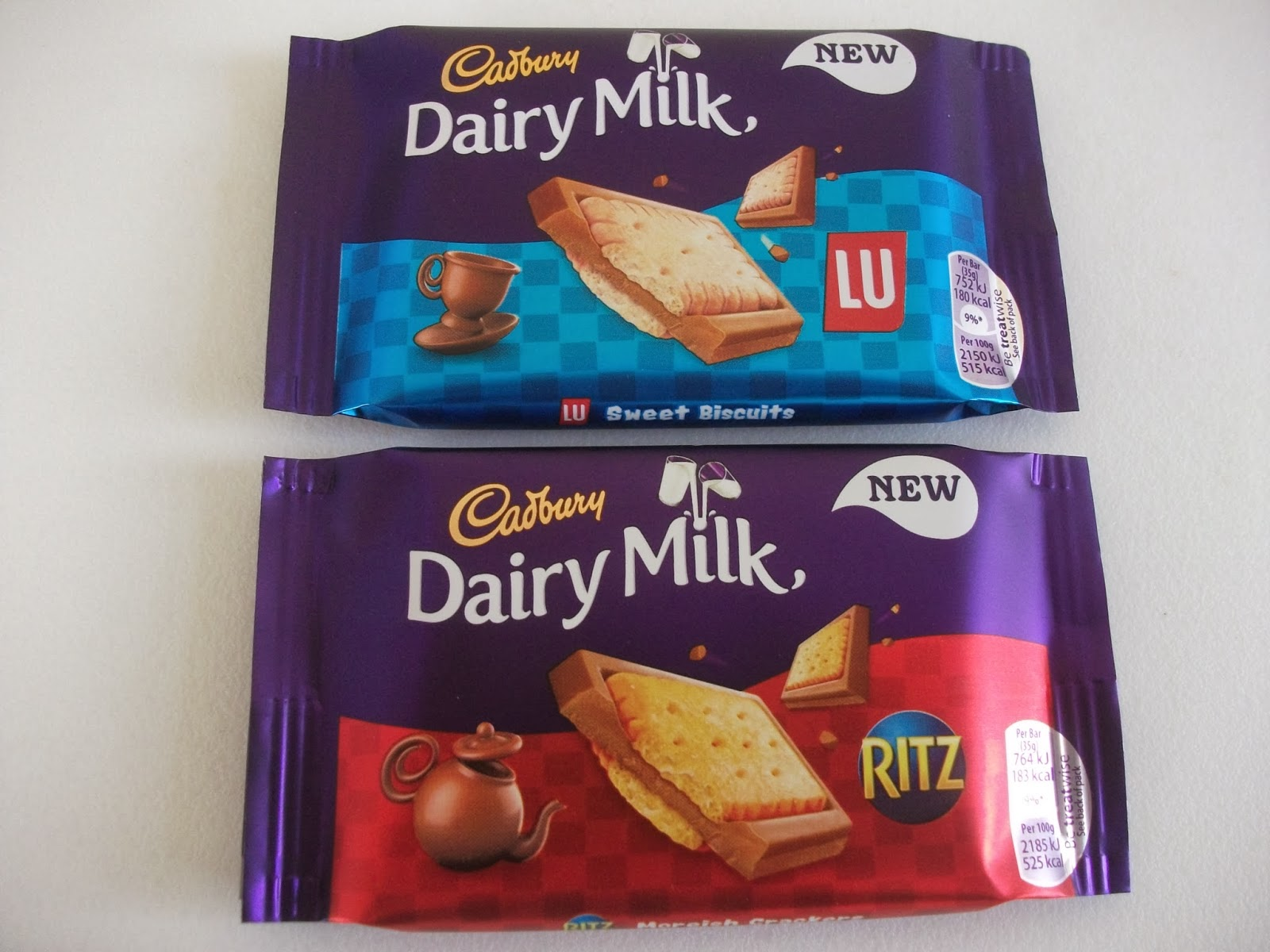 cadbury dairy milk with ritz crackers and lu sweet biscuits