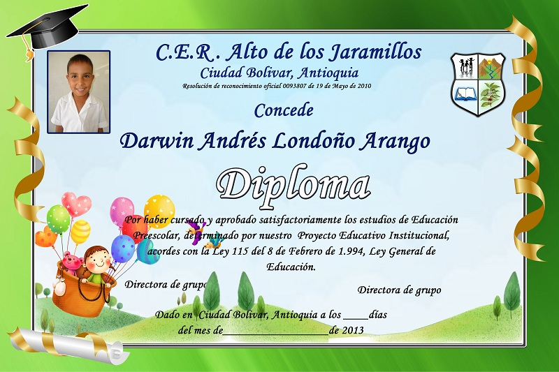 Los siguientes son Diplomas para Preescolar