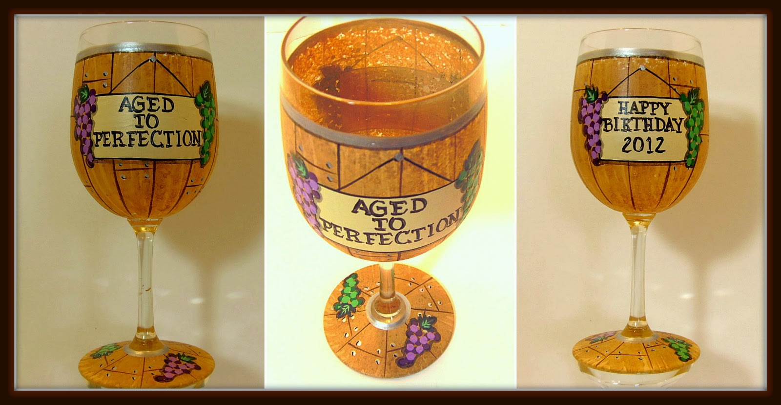 Happy Birthday Wine Barrel Painted Wine Glass