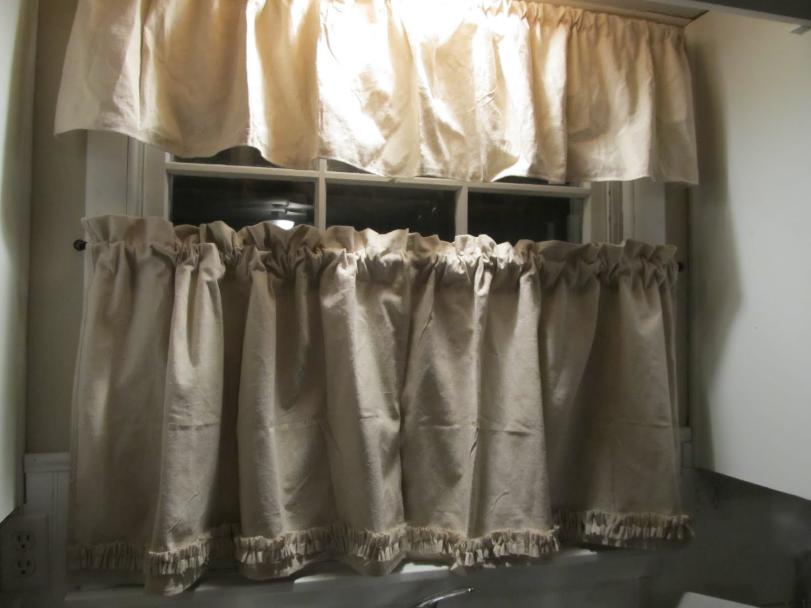 Happy As A Lark Diy Kitchen Curtains Out Of A Painter 39 S Drop Cloth