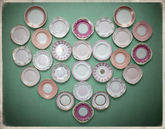 heart made out of vintage pink plates