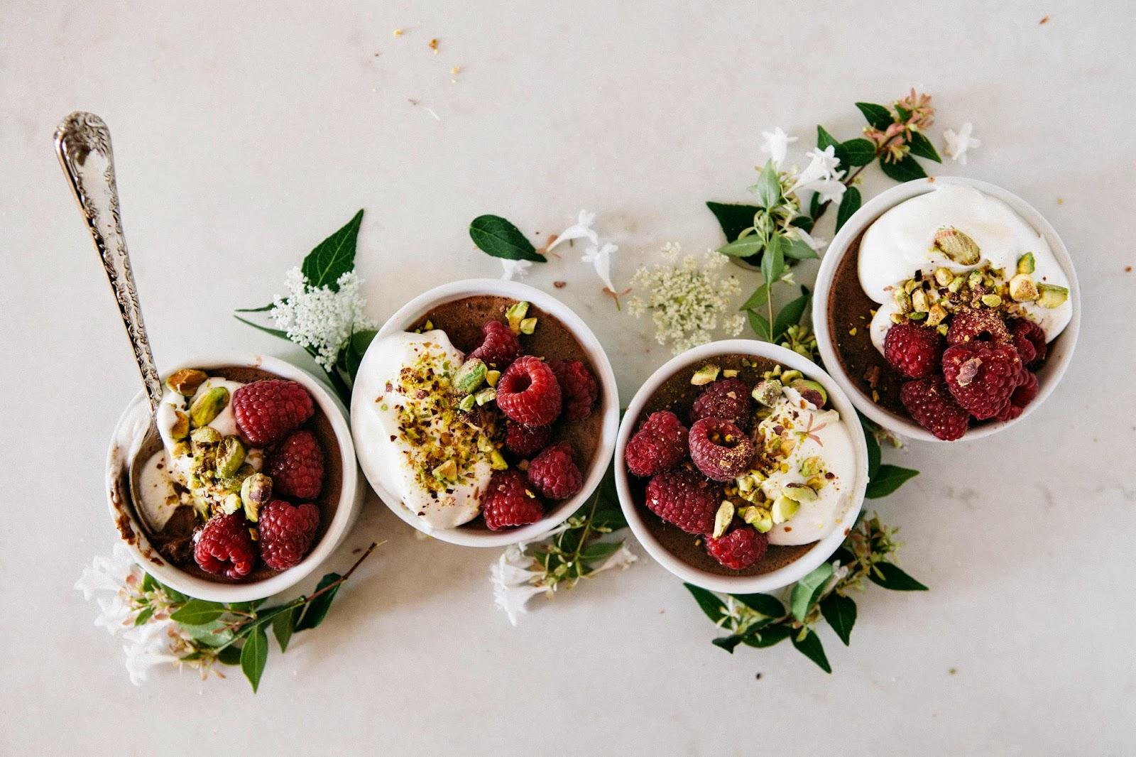 Salted Chocolate, Raspberry and Pistachio Pots de Crème