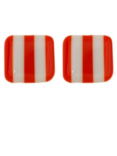White & Orange Two Stripe Earrings