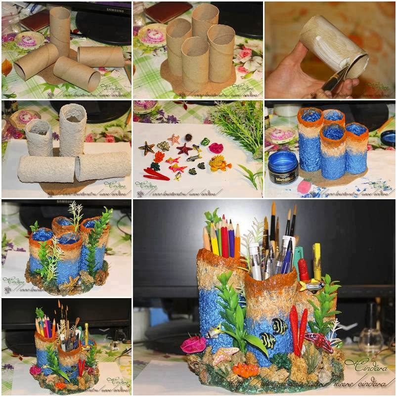 Creative hand made pen and pencil stand for kids made from for Handicraft with waste