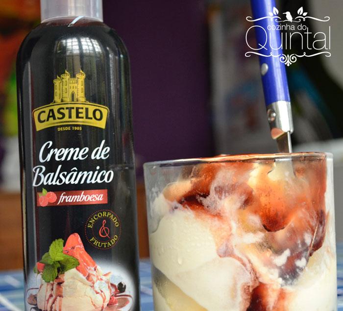 Sorvete de Creme Perfetto e Creme de Balsâmico Framboesa Castelo