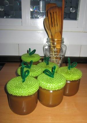 Tapa de crochet para tarro (manzana)