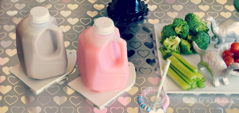 RAWR Means XOXO In Dinosaur Valentine's Day Party mini milk jugs