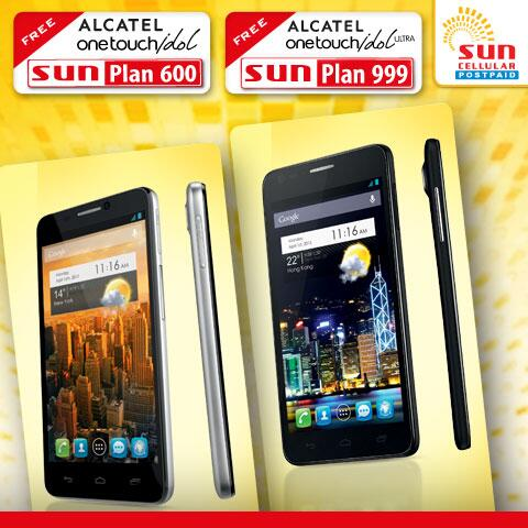 Alcatel one touch idol free at sun cellular plan 600 for Sun mobile plan