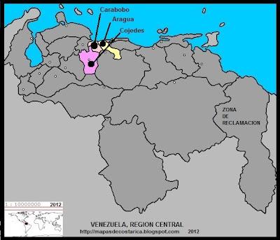 REGION CENTRAL, Mapa de las Regiones politico-administrativas de VENEZUELA