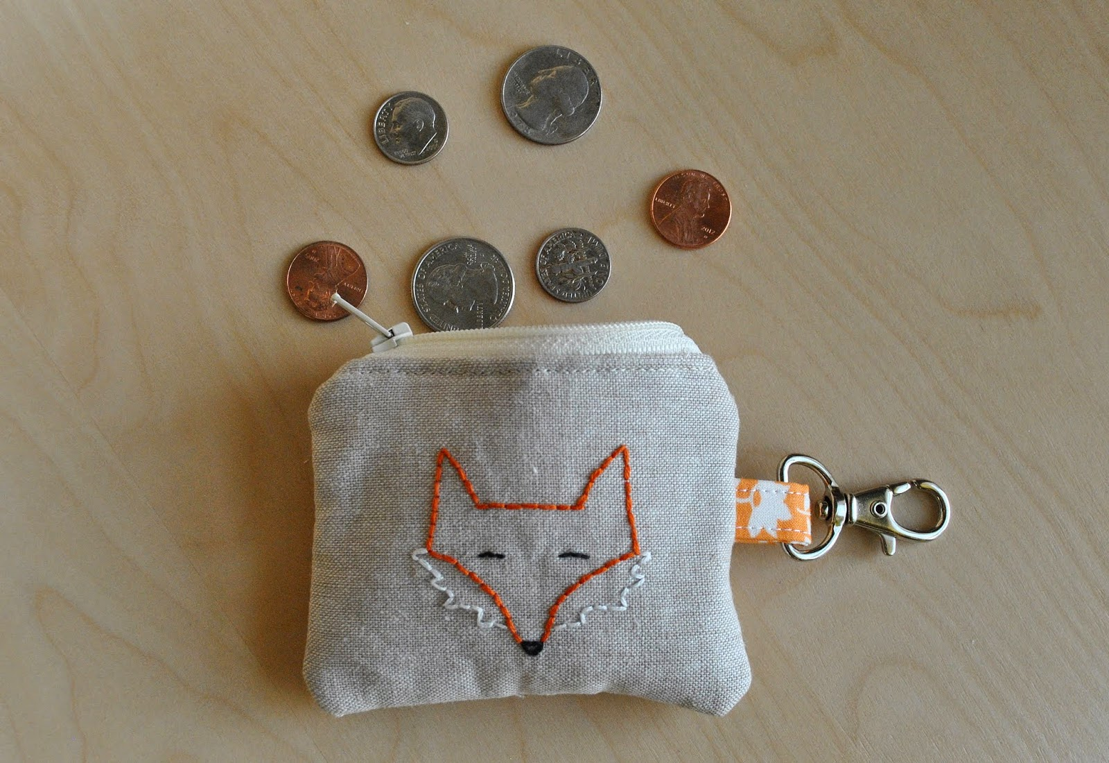 embroidered fox coin purse