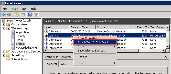 Event ID 2004 Resource Exhaustion Diagnosis Events