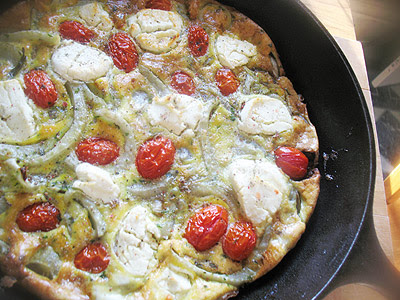 Fennel and Grape Tomato Frittata with Goat Cheese