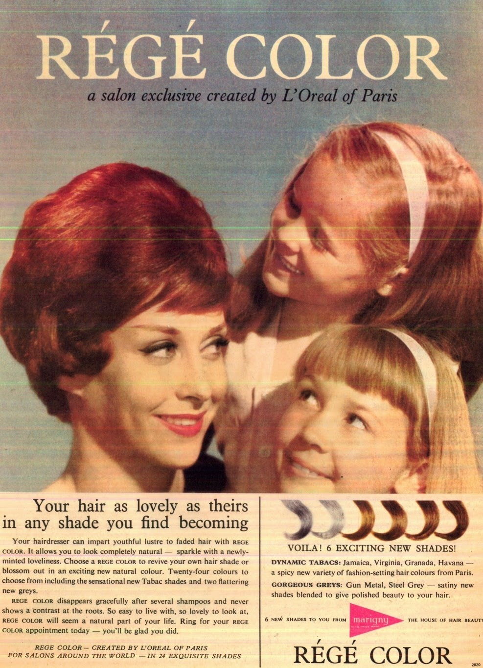 vintage ad for hair color 1960s