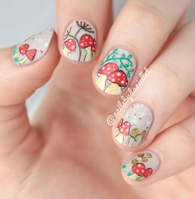Guest Post From Nails By Danielle T Autumn Toadstools Brit Nails