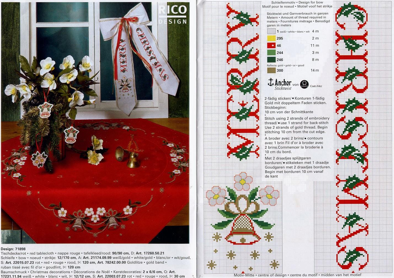Punto de cruz para navidad manteles - Manteles para navidad ...