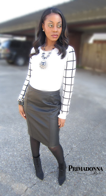 Forever 21 Grid Sleeve Sweater Worthington Faux Leather Skirt Abaete Kaye Pleated Boot