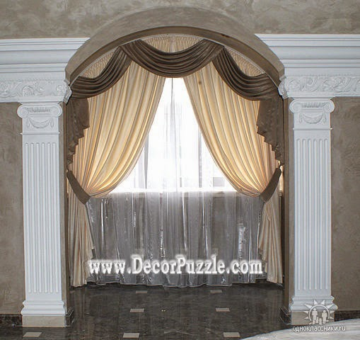 Exceptionnel Arch Window Curtains, Brown And Beige Curtain Design 2017