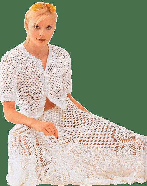"белый летний комплект: юбка и жакет с мотивом ""ананас"""