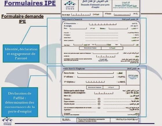 Formulaire de la demande d'indemnité pour perte d'emploi - IPI
