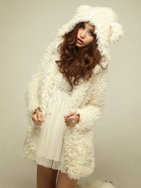 Cute Beige Bear Pattern Cotton Women's Coat