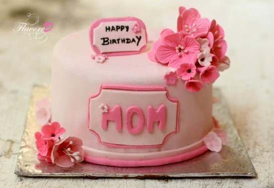 Pink Cake For A Mom Fondant Blossom Flowers Fondant Cake With
