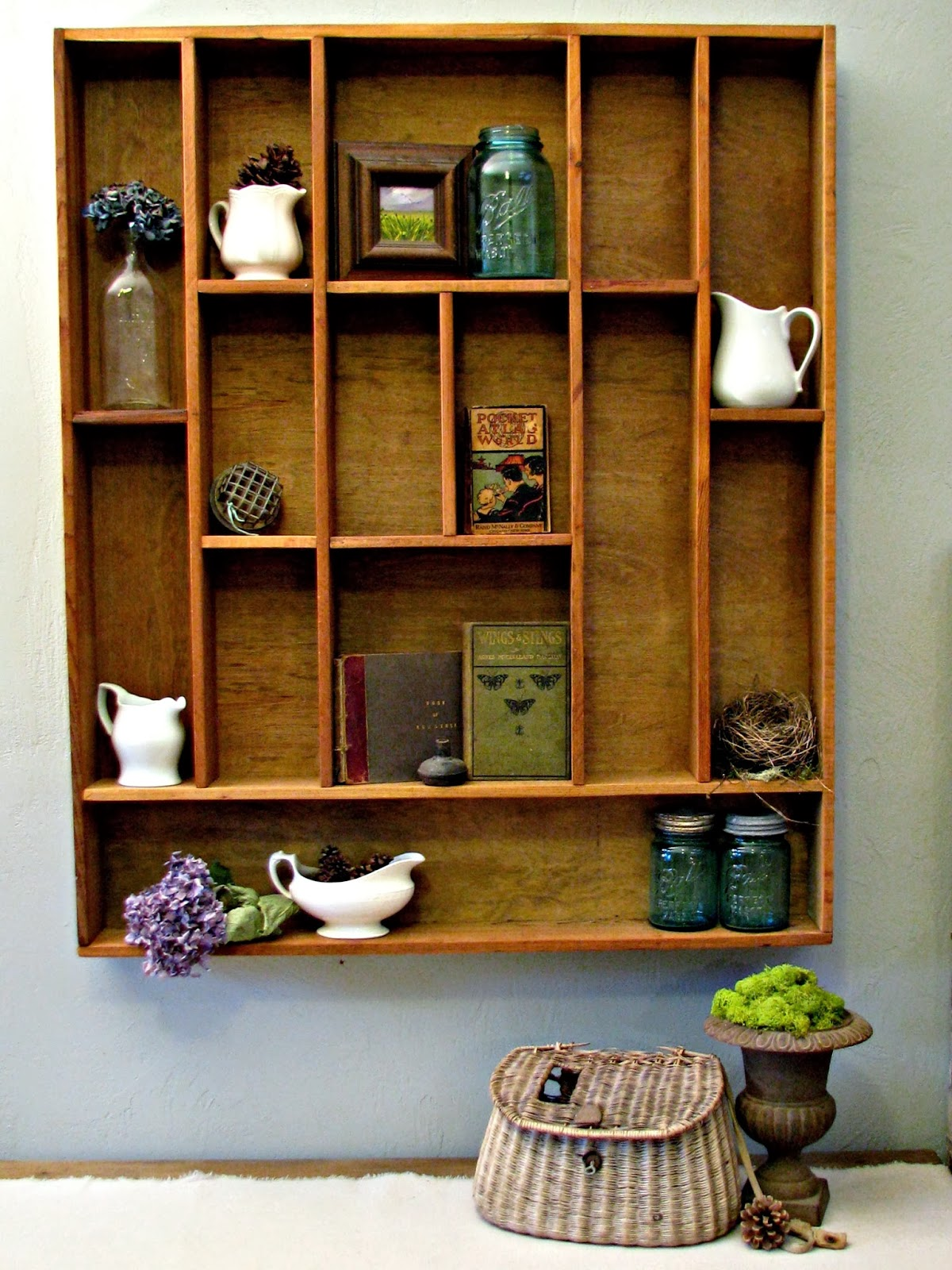 Blue roof cabin diy letterpress tray display shelf tutorial for How to make display shelves